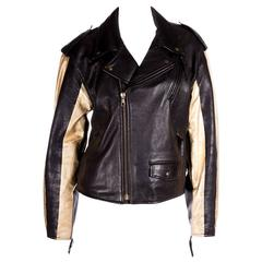 Moschino Leather Biker Jacket with Gold Stripe Sleeves