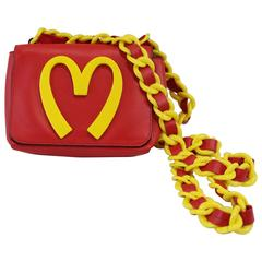 Moschino 20 Billion Served Red Leather Bag