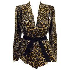 Ognibene Zendman Leopard Print Silk Belted Jacket With Clear Sequins Allover