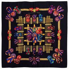 1993 Hermes Rubans du Cheval Les Black Silk Twill Scarf by Joachim Metz