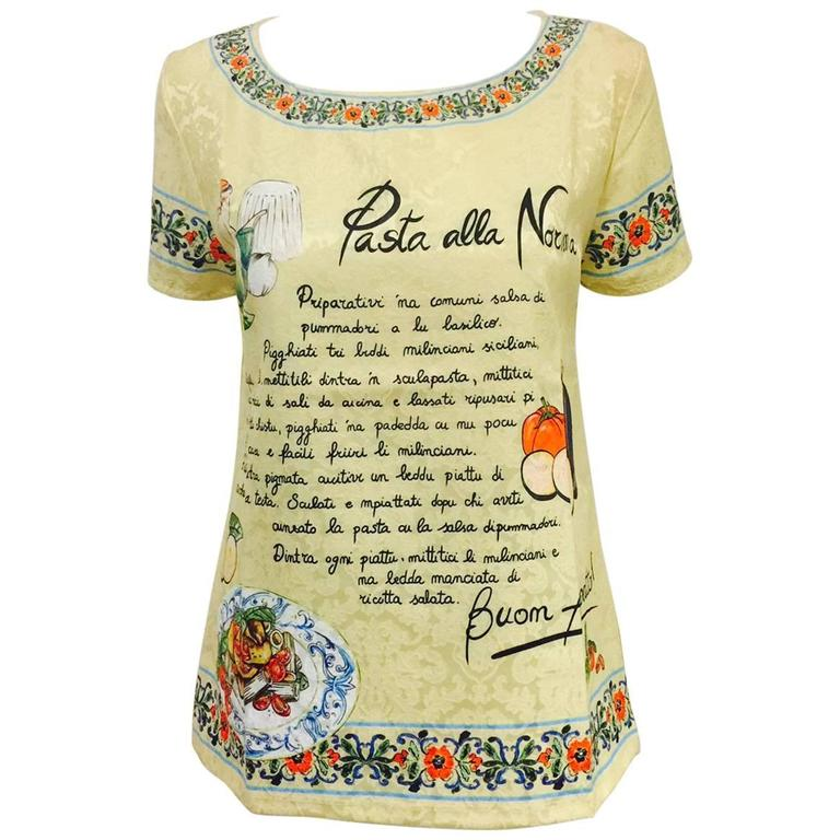 Dolce & Gabbana Pasta alla Norma Recipe Brocade Short Sleeve Tee Shirt  For Sale