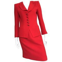 Emanuel Ungaro Red Power Wool Crepe Suit Size 6, 1990s