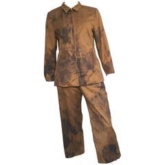 Rene Lezard Bronze Cotton Pant Suit Size 8 / 38.