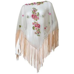 Exotic 1930s Sheer Tulle Hand Embroidered Floral Motif Piano Poncho