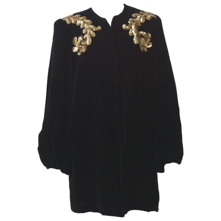1940s Velvet Coat with Sequins