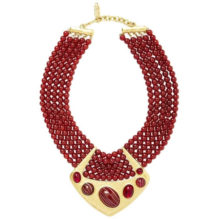 Yves Saint Laurent Multistrand Bib Necklace with Hammered Gold Detail 1