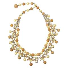 Signed Kramer Rhinestone, Faux Pearl & Resin Collar Necklace / SALE