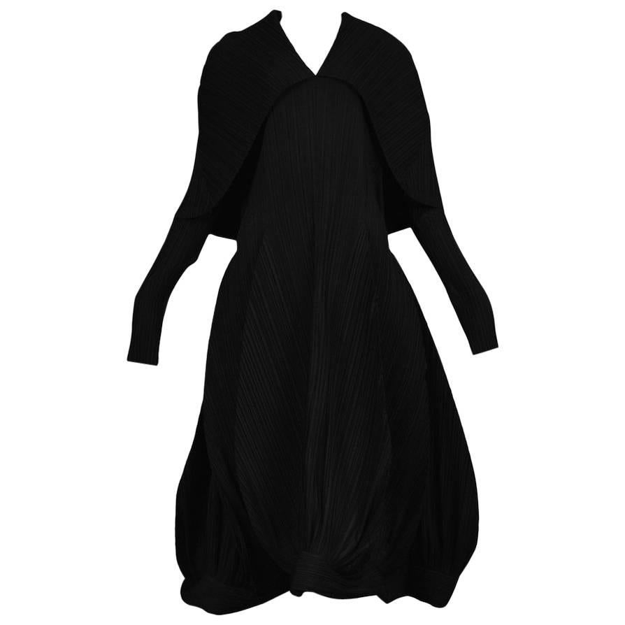 Vintage Issey Miyake Black Pleated Museum Collection Dress 1985