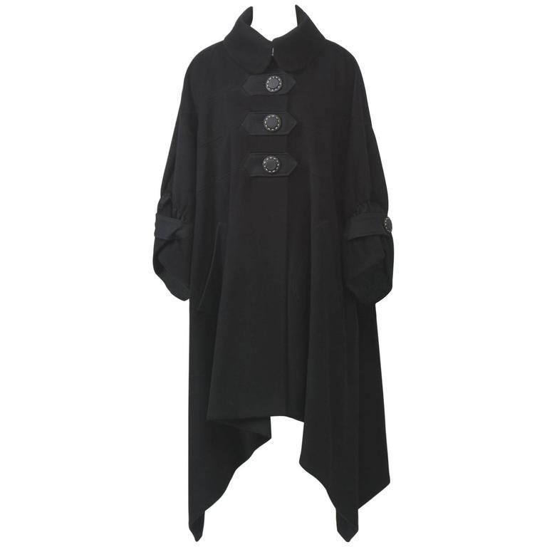 Kenzo Black Cashmere Coat For Sale