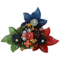 1960s William De Lillo Cameo Glass Floral Brooch