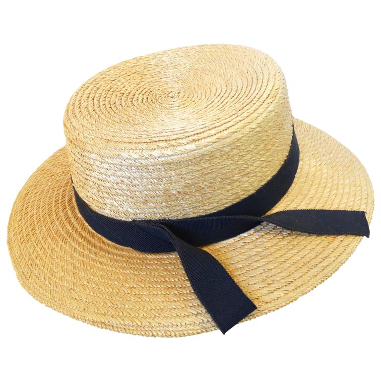 Rare 1980s Yves Saint Laurent Rive Gauche Straw Boater Hat  For Sale