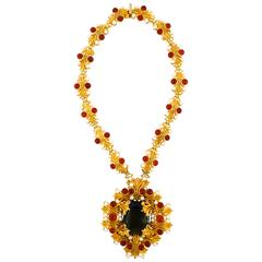 1960s William de Lillo Royal Black Topaz Necklace
