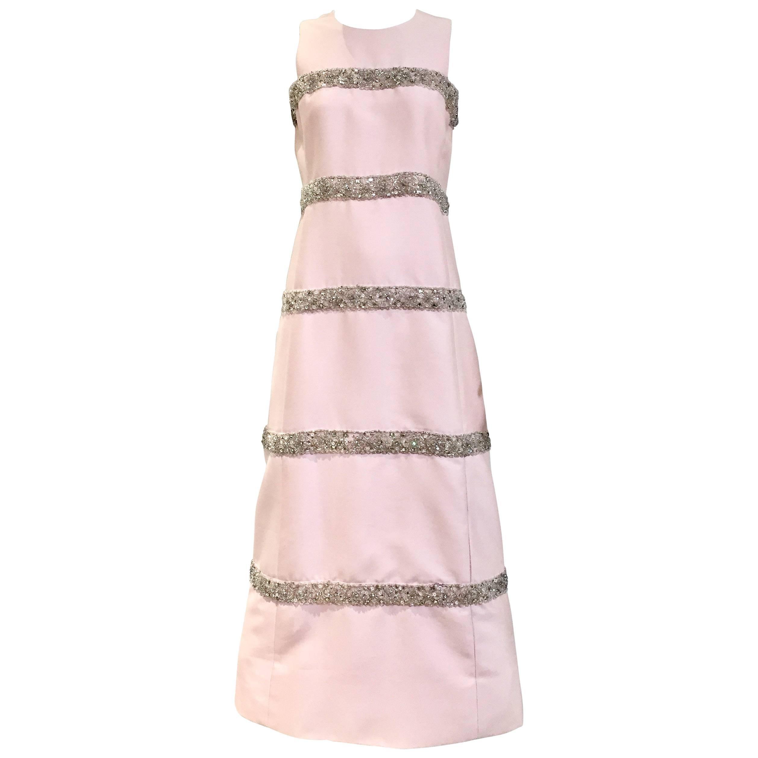 Vintage 1960s Malcolm Starr Light Pink Sleeveles Silk Shift Dress