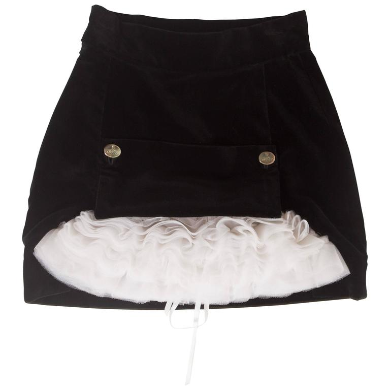 Vivienne Westwood black velvet mini skirt with crinoline, circa 1991 For Sale