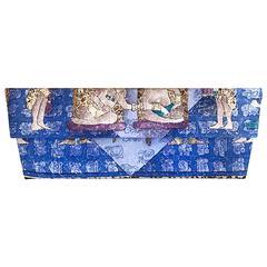 Vintage Pineda Covalin Blue Silk Aztec Mexican Asymmetrical Avant Garde Clutch