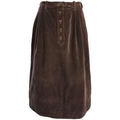 1970s Yves Saint Laurent Rive Gauche Brown Corduroy A - Line Vintage Mide Skirt