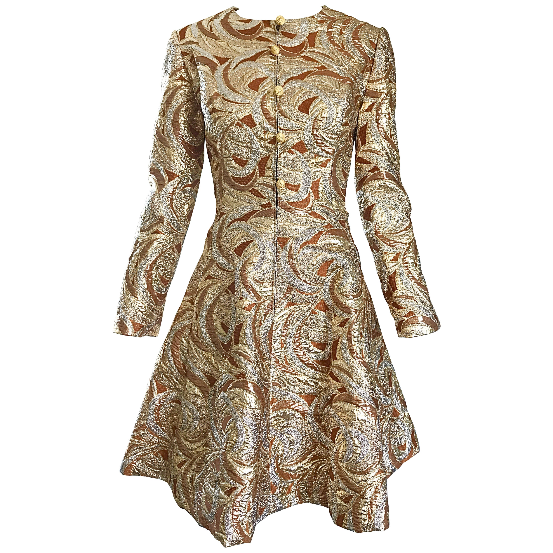 6d3ce176 1960s Richard Tam Neiman Marcus Bronze Gold Silver Metallic Vintage A Line  Dress For Sale at 1stdibs