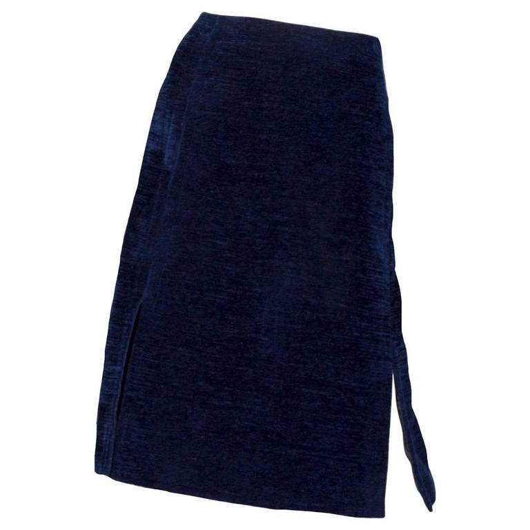 1960s Givenchy Haute Couture Midnight Blue Cotton Skirt For Sale