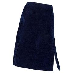 1960s Givenchy Haute Couture Midnight Blue Cotton Skirt