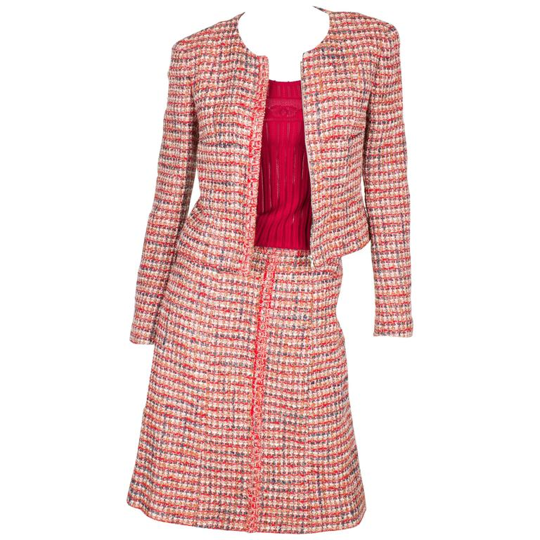 Chanel 3-pcs Suit Jacket, Skirt & Top - red/gray/pink/white 2003 For Sale