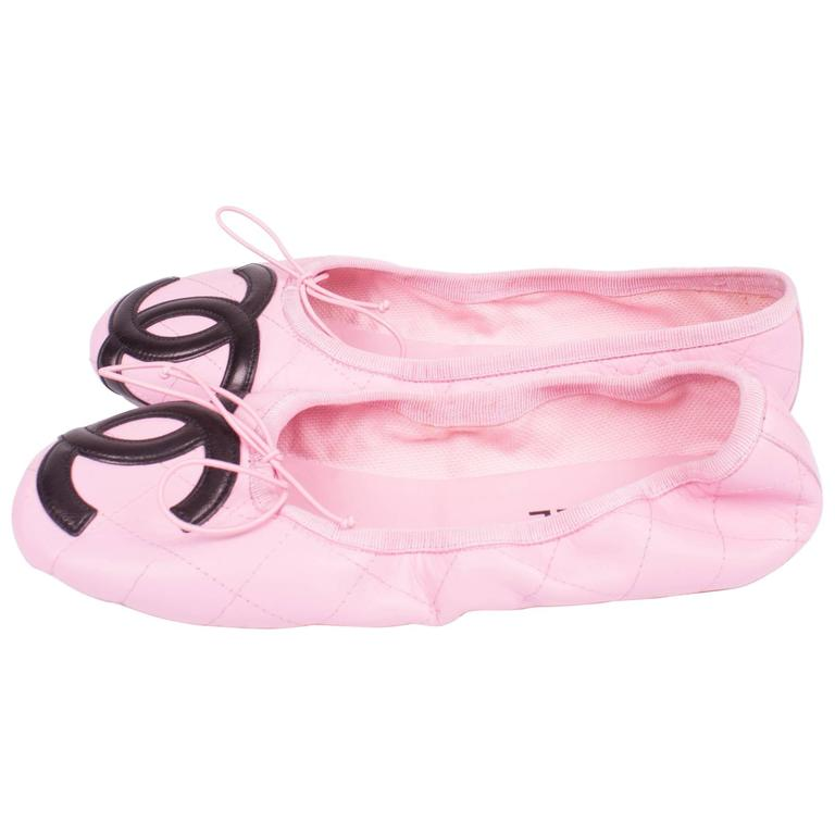 Chanel Ballerina Flats Cambon - pink/black  For Sale