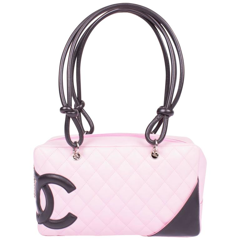 3143df6c2b Chanel Cambon Ligne Quilted Bowler Bag - pink/black at 1stdibs