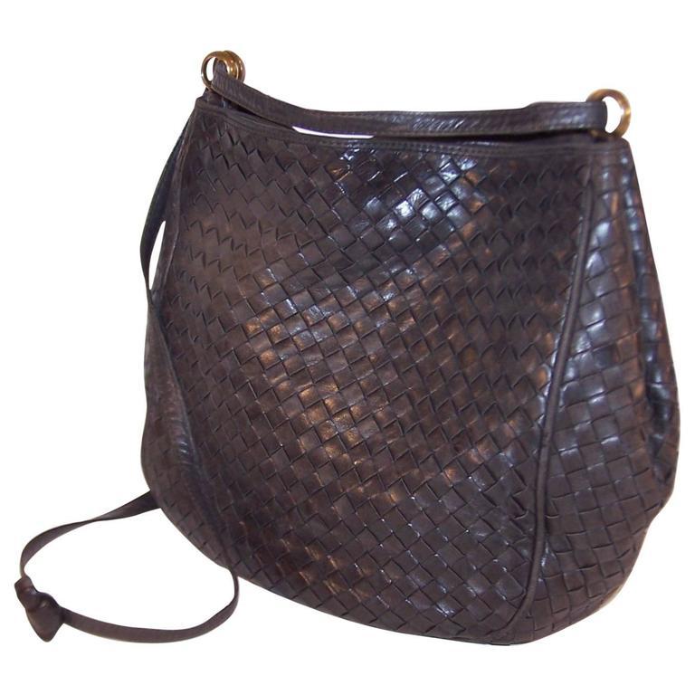 1d9a5459c754 Vintage Bottega Veneta Charcoal Gray Intrecciato Leather Shoulder Handbag  at 1stdibs