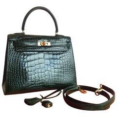 Hermes 25 cm Shiny Vert Fonce Alligator Sellier Kelly Bag