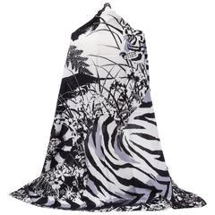 "Hermes Black White Tyger Silk Cashmere 54"" Shawl Scarf"
