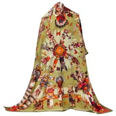 "New in Box Hermes Olive Kachinas 54"" Cashmere Silk Shawl Scarf, Oliver"