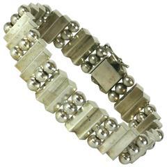 Unusual Architectural Art Deco Silver Bracelet