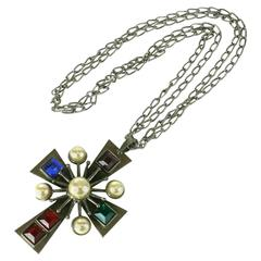 Early Yves Saint Laurent Maltese Cross Necklace