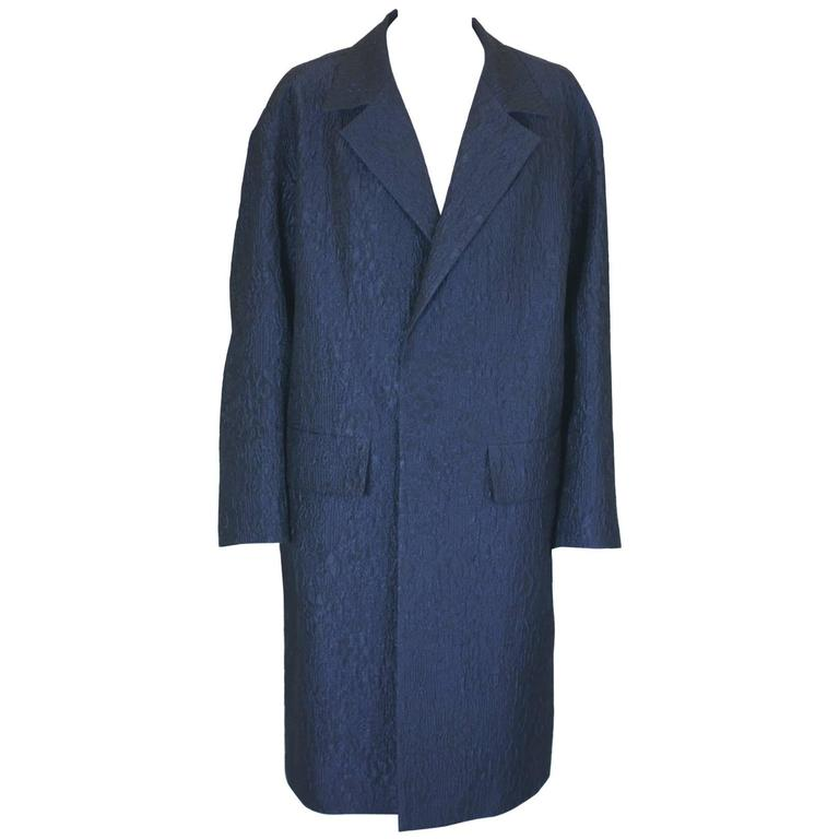Dries Van Noten Navy Cloque Coat/Dress