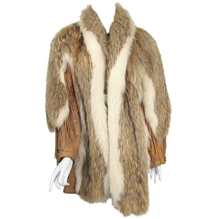 1990s Coyote Leather Fringe Coat Jacket