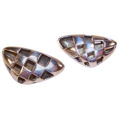 1987 Angela Cummings Modernist Checkerboard Sterling Silver Earrings