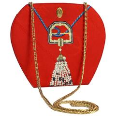 Les Must de Cartier Red Silk Jewel Necklace Design Gold Chain Clutch bag