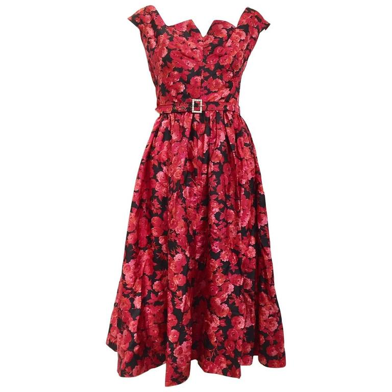 1950s floral print red and black floral print cocktail dress