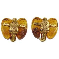 1980s Kalinger Paris Signed Ram Head Clip on Earrings Honey Resin & Gilt Metal