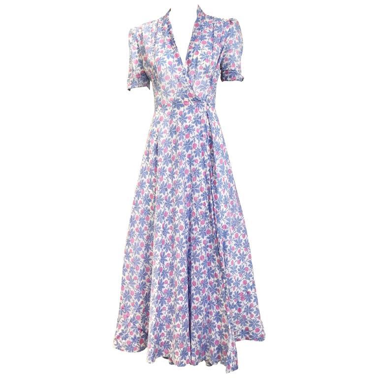 1930s floral print cotton wrap dress at 1stdibs