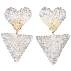 Romantic Dangling Clear Lucite Clip on Earrings with Heart