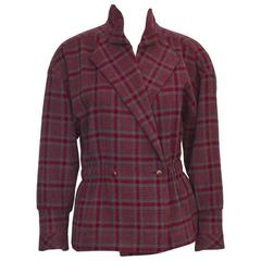 1980's Chloe Red and Grey Checked Peplum Jacket