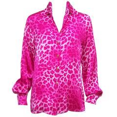 1980's Escada Hot Pink Leopard Print Silk Charmeuse Blouse