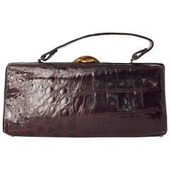 50s Dark Brown Alligator Handbag