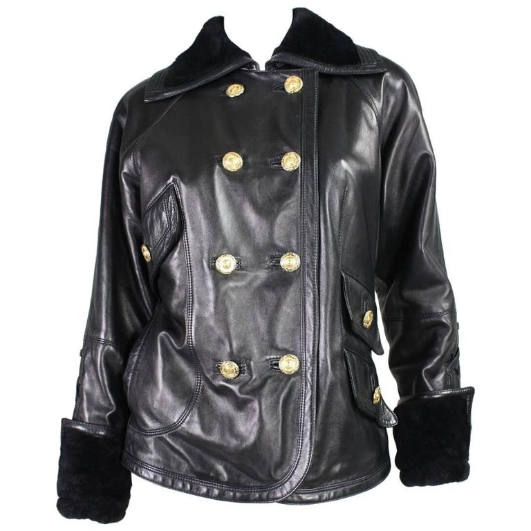 1990's Versace Leather Jacket with Shearling Collar & Cuffs