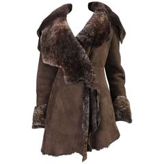 1980's Roberto Cavalli Suede Shearling Coat