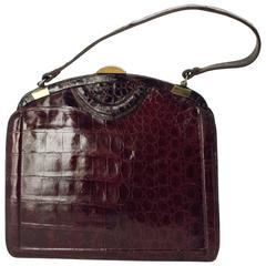 40s Dark Brown Alligator Handbag