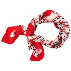 80s Bill Blass Red, White and Blue Domino Print Scarf