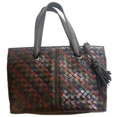 Vintage Bottega Veneta intrecciato tote bag in black, wine, brown, navy & green.