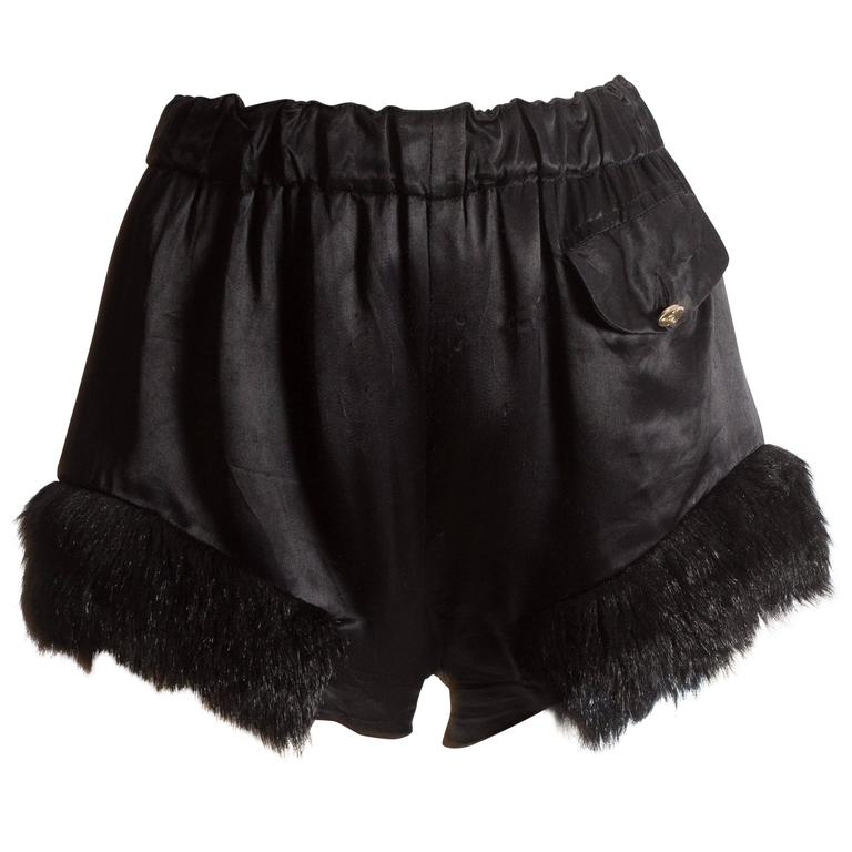 Vivienne Westwood black satin mini shorts with faux fur, circa 1991