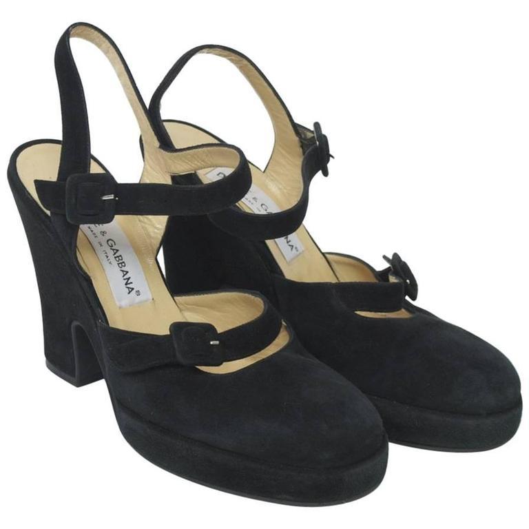 Dolce & Gabbana Black Suede Platform Shoes 1